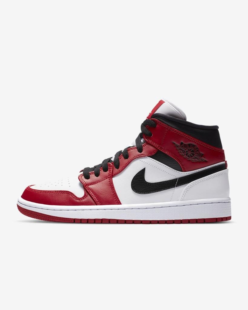Red and White Nike Air Jordan 1 sneaker