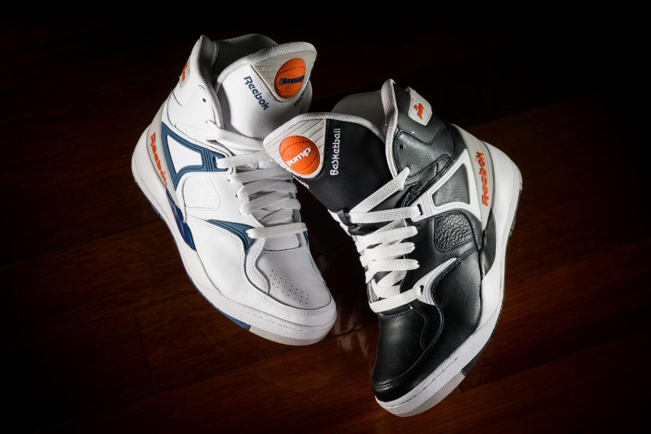 Black and white Reebok Pump sneakers