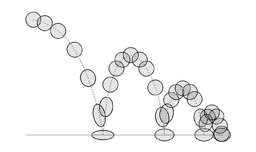 keyframing animation frames of a ball bouncing