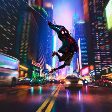 Picture of Spider Man swinging between buildings from Spider Man: Into the Spiderverse