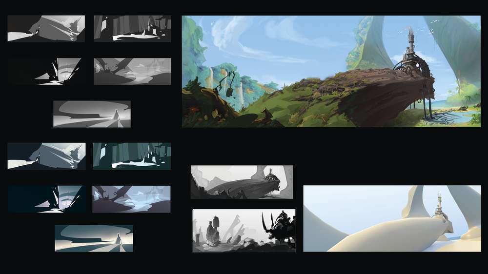 Keyframing a digital animation of a fantasy landscape called Pollution Castle by Ricardo Caria