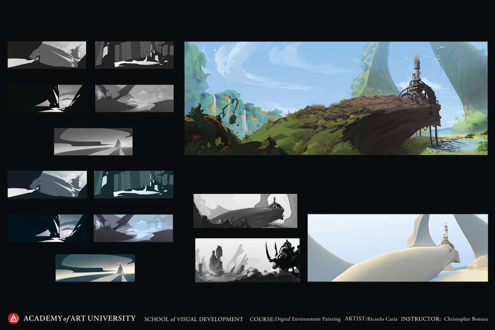 Keyframing a digital animation of a fantasy landscape called Pollution Castle by Ricardo Caria