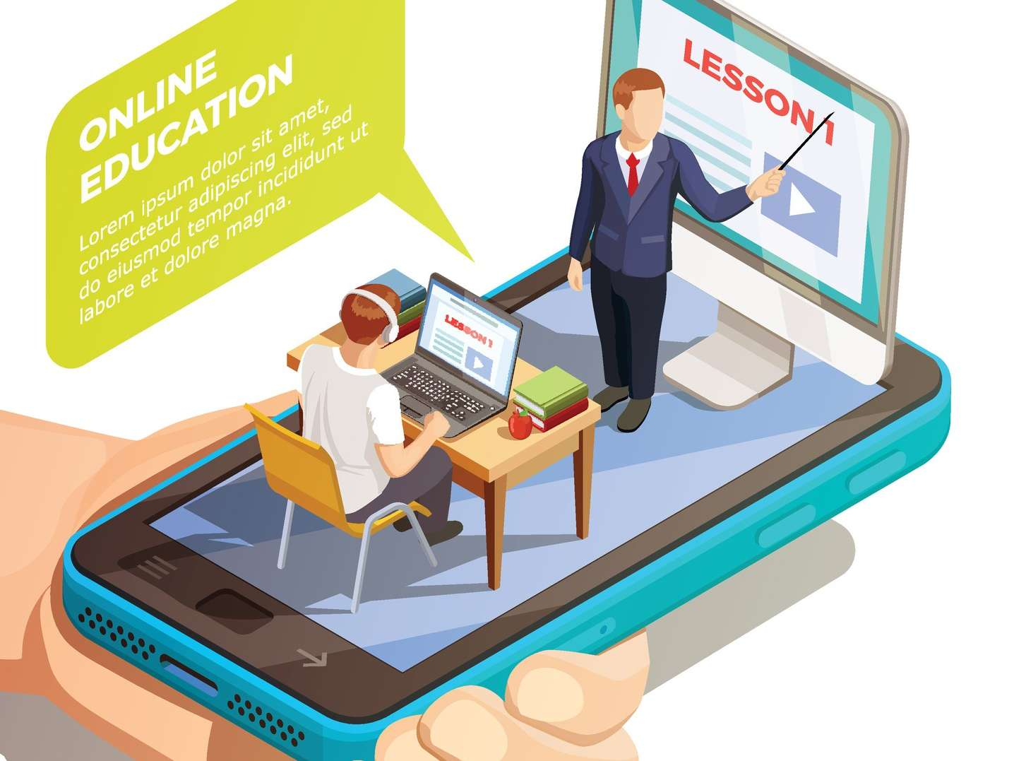 Cartoon of a teacher teaching a student, sitting on top of a cell phone screen