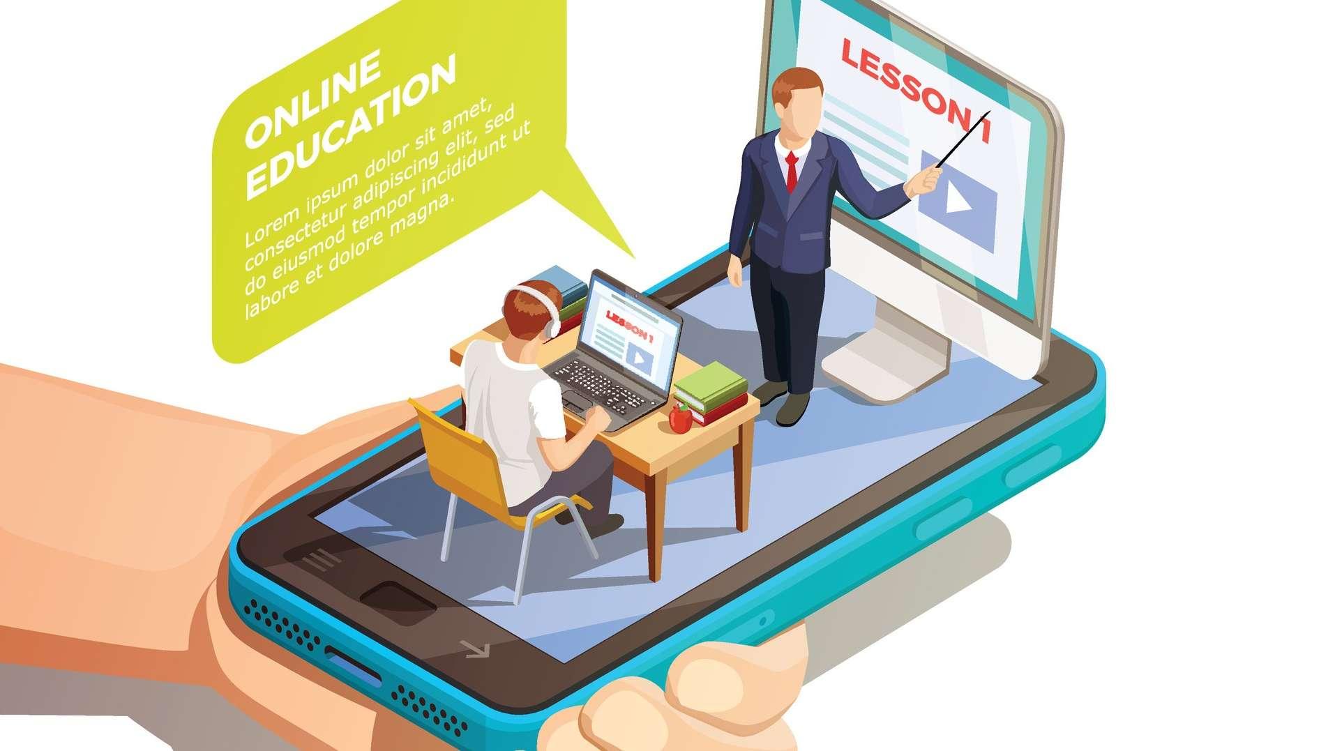 Cartoon of a teacher teaching a student, sitting on top of a cell phone screen
